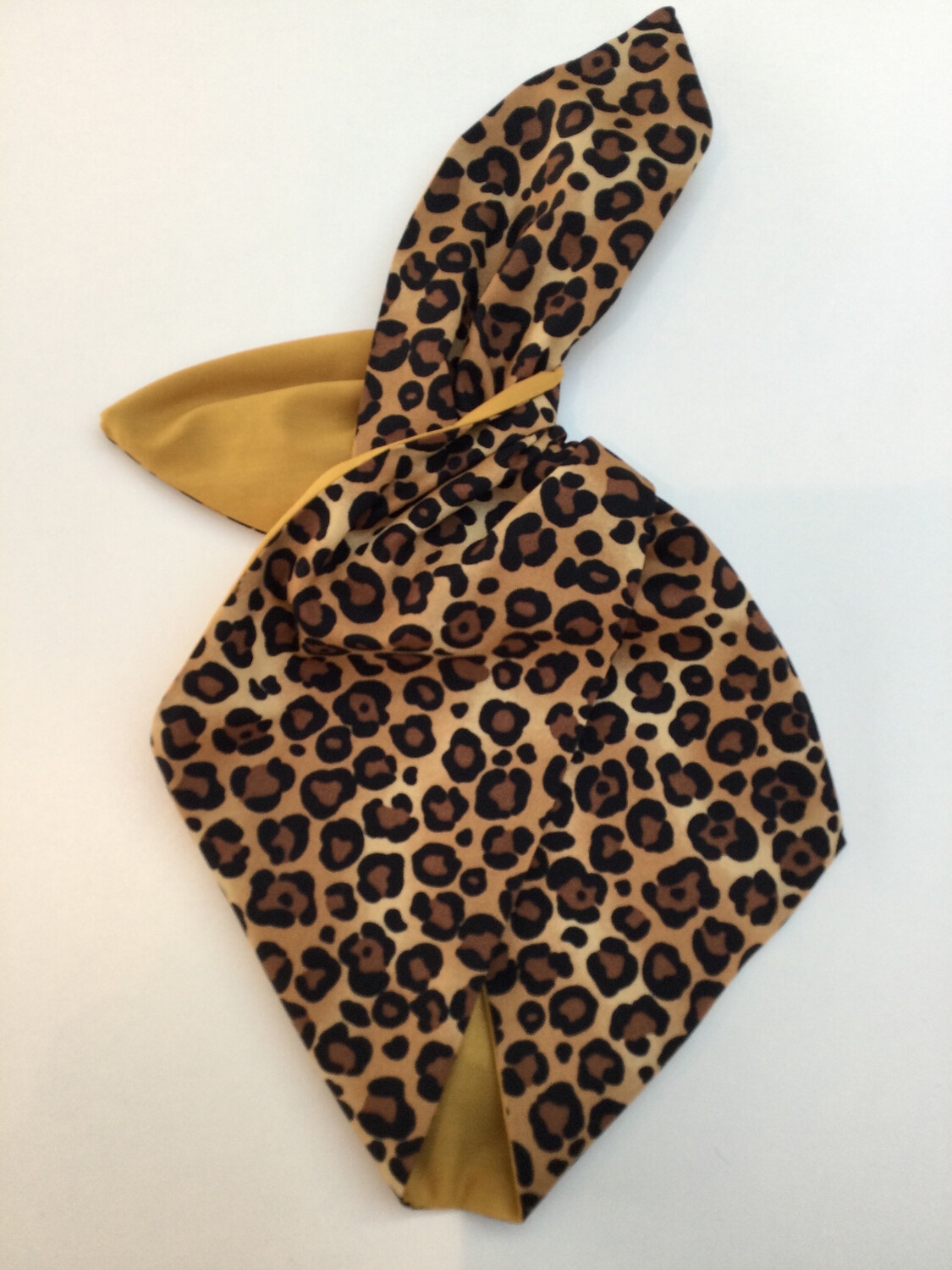 Leopard Print With Mustard / Gold Reverse Wired Hairband