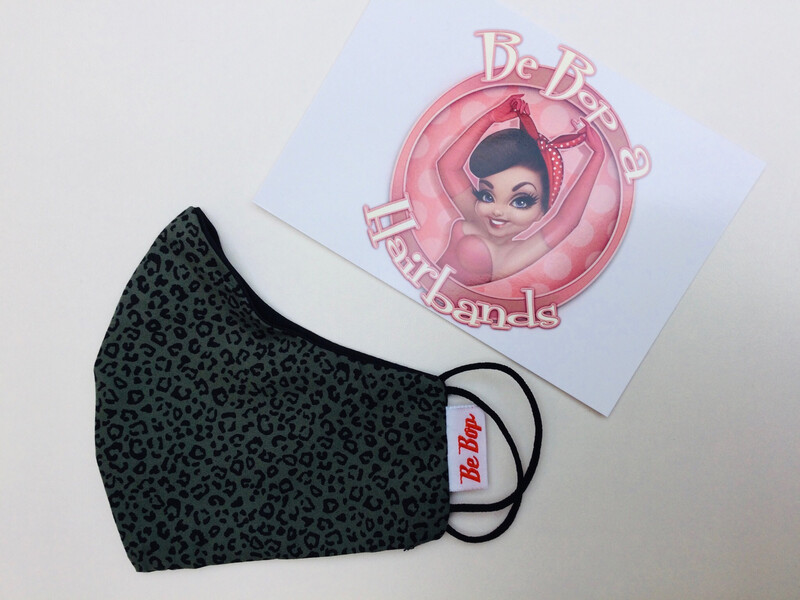 Khaki Animal Print With Plain Black Reversible Facemask