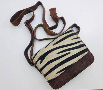 Crossbody Zebra Design Leather Bag