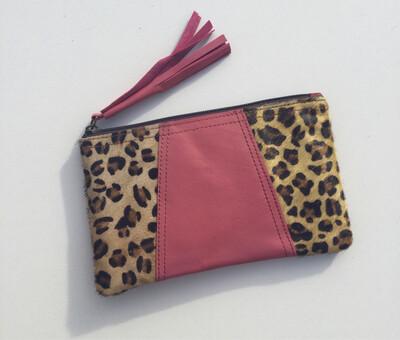 Animal/ Leather Mini Clutch