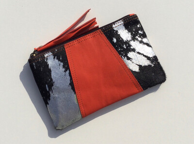 Animal/leather Mini Clutch