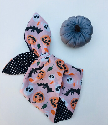 Pale Pink Pumpkin And Skull Wired Hairband
