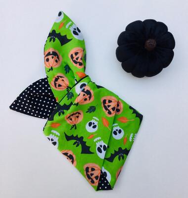 Little Girls Green Skull And Pumpkin Wired Hairband
