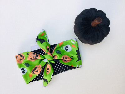 Baby Green Pumpkin And Skull Non Wired Hairband