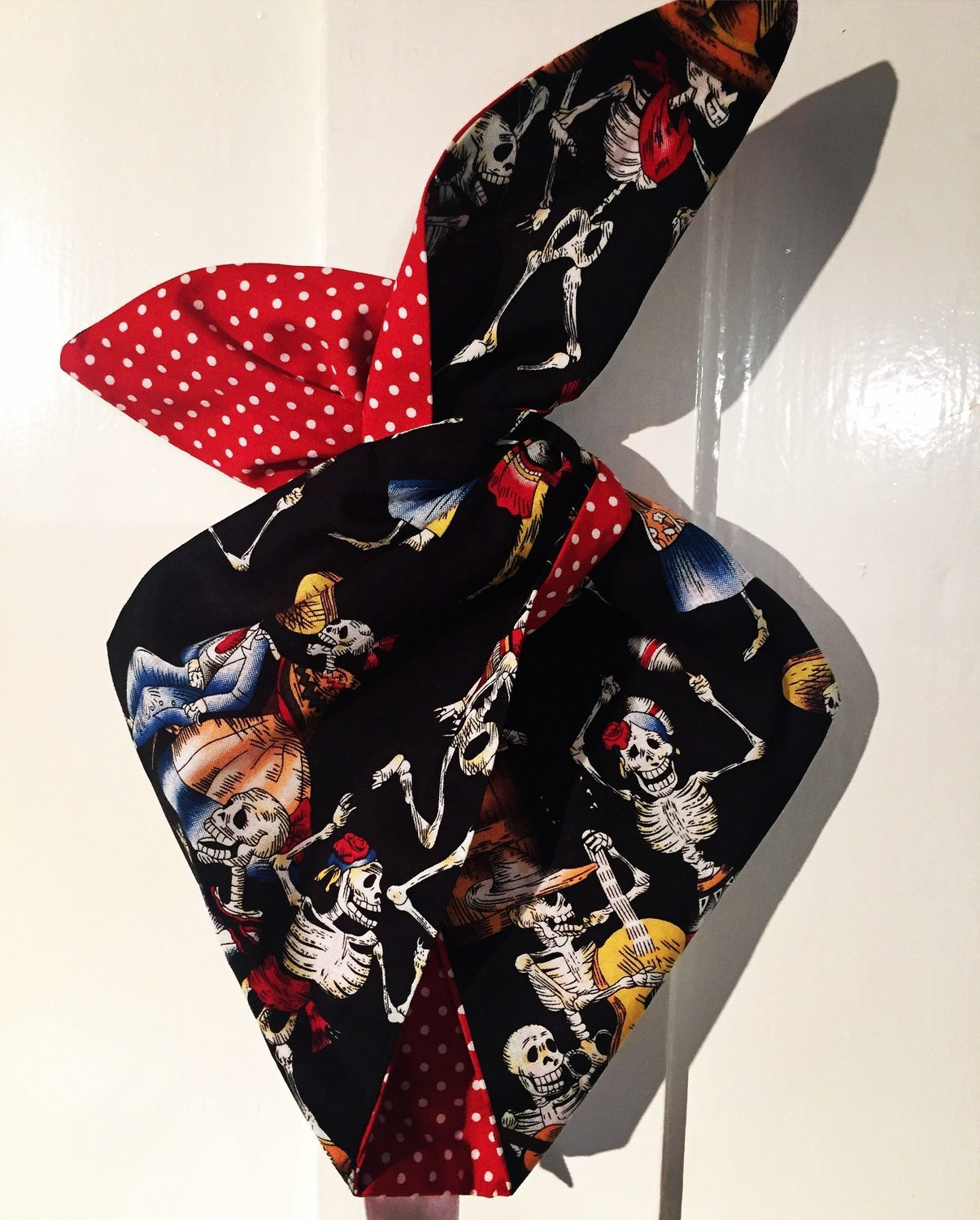 Day of the dead dancing skeletons with red polka wired hairband