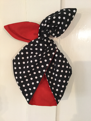 Black polka dot with red contrast wired hairband