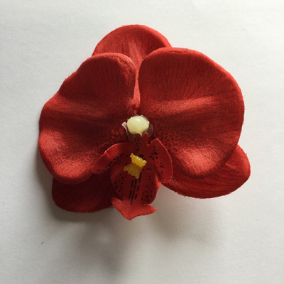 Red mini orchid hairclip