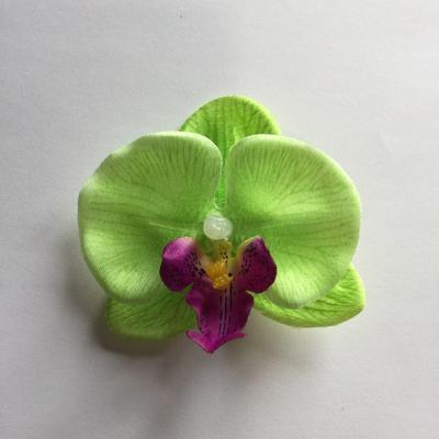 Green mini orchid hair clip
