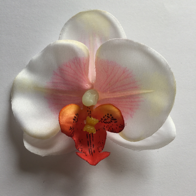 White / pink mini orchid hair clip