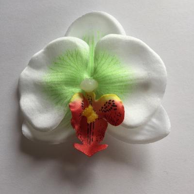 White / green mini orchid hair clip