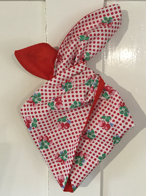 Red polka cherry with plain red wired hairband