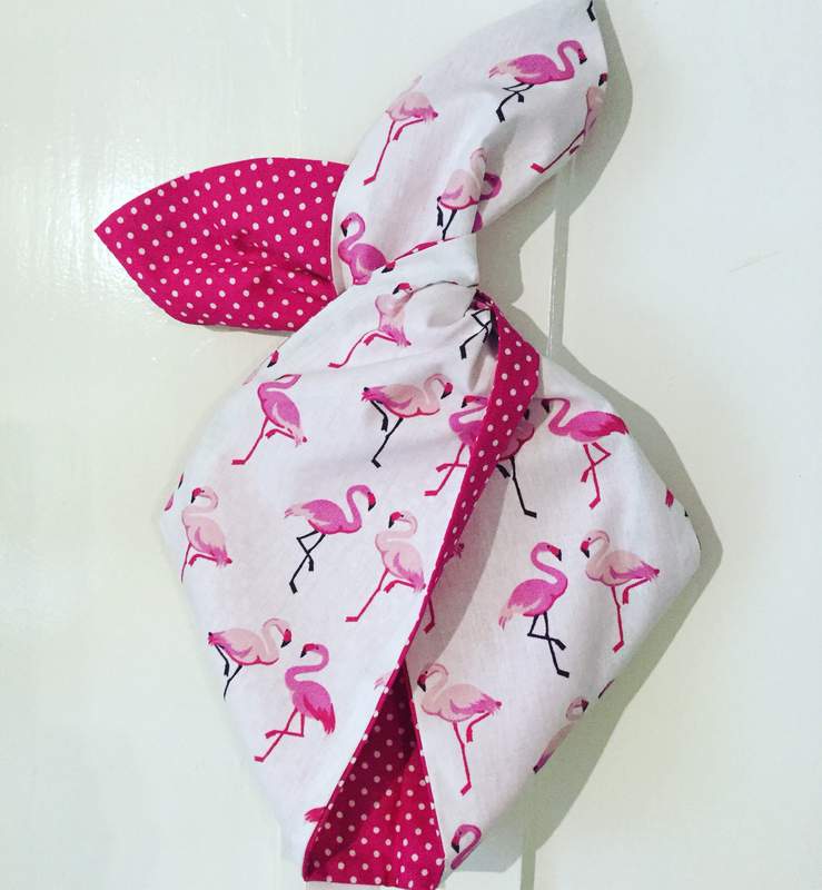 Hot pink twin flamingo wired hairband