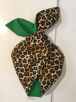 Leopard with green reverse wired hairband