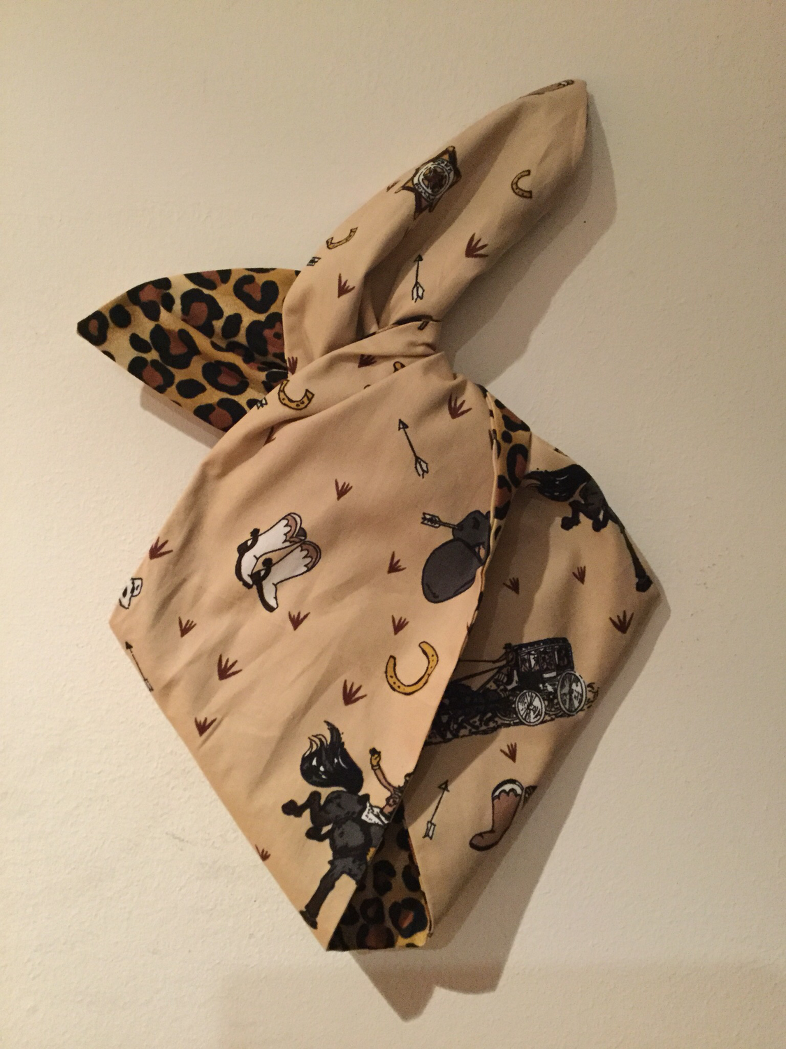 Girls Cowboy and leopard print wired hairband