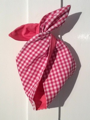 Hot pink gingham / pink wired Hairband