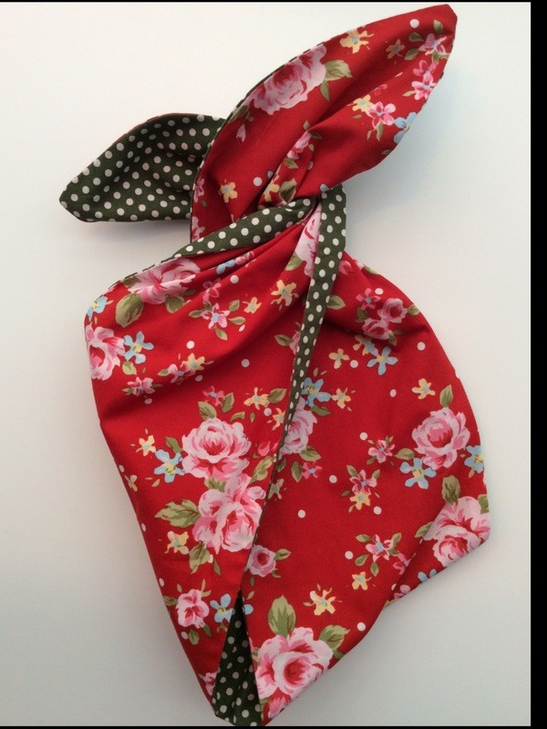Red floral / green polka dot wired hairband