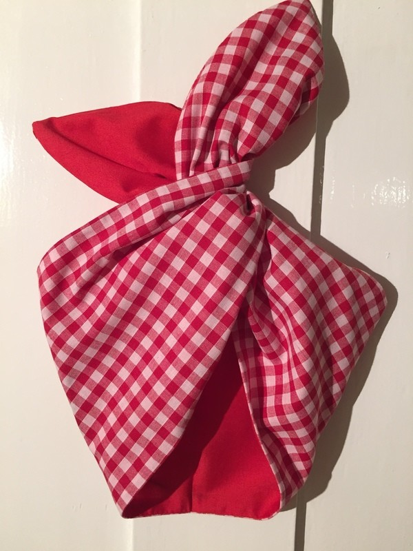 Red gingham / red wired hairband
