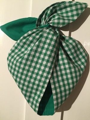 Green gingham / plain green wired hairband