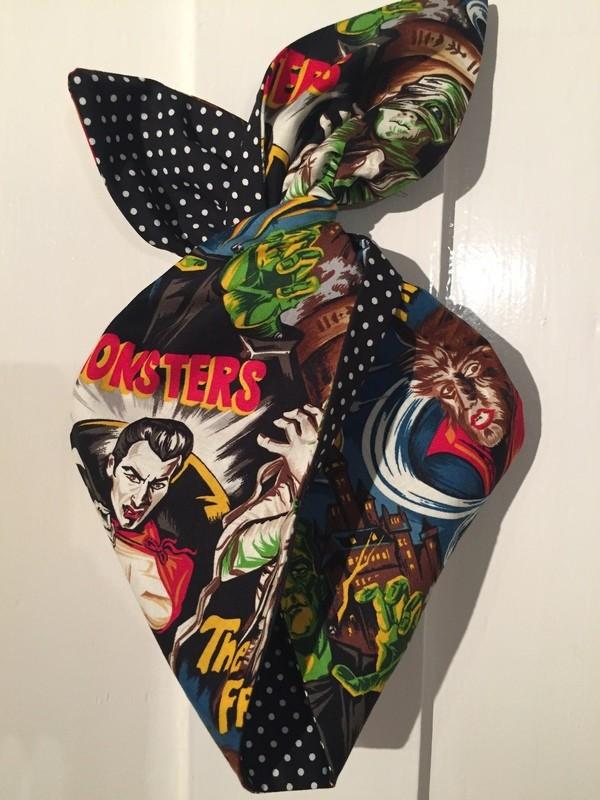 Monster print / black polka dot hairbands