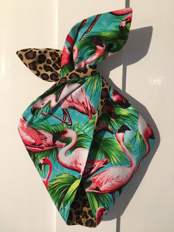 Flamingo / leopard wired hairband