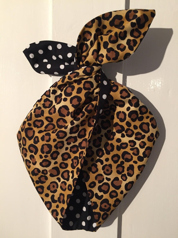 Leopard print / black polka dot hairband