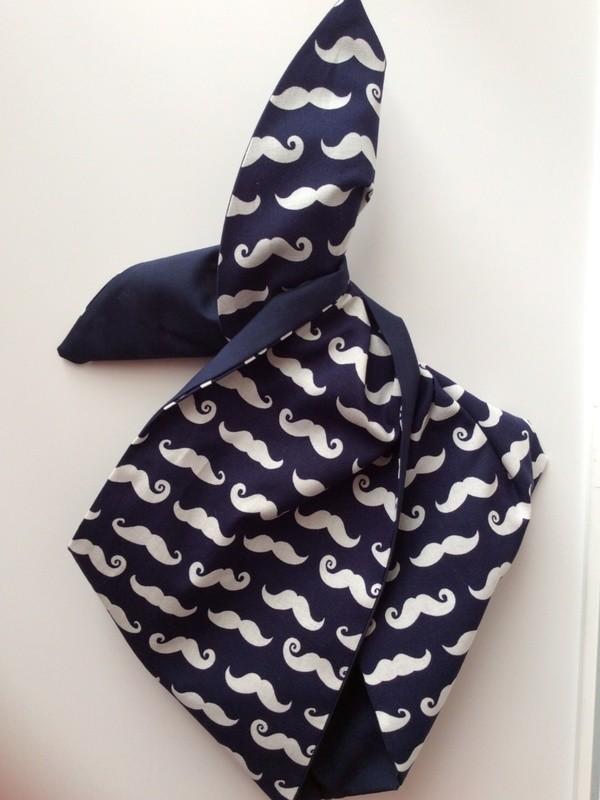 'Movember' navy moustache hairband
