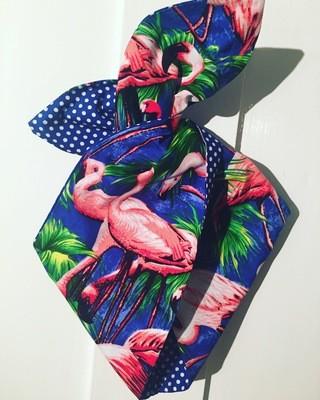 Royal blue flamingo print with Royal polka