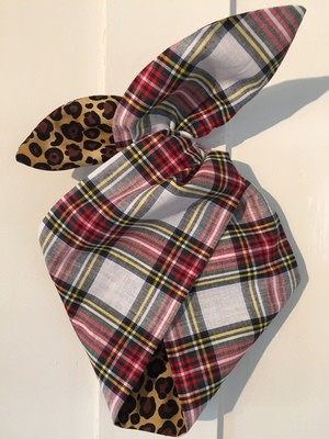 Tartan (white) and leopard wired hairband