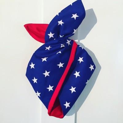 Royal blue stars with plain red backing ( WonderWoman) hairband