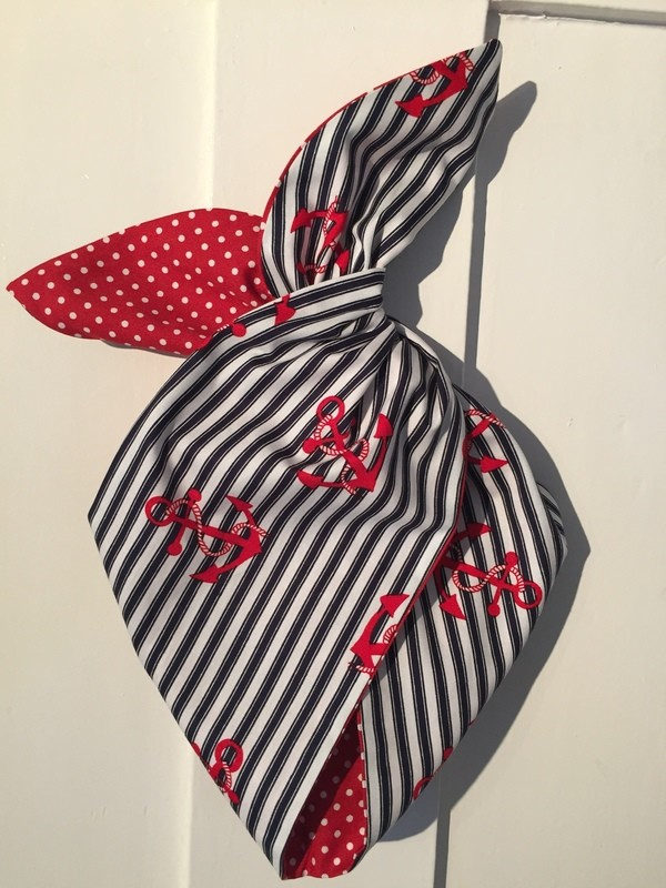 Navy stripe / red anchor wired hairband