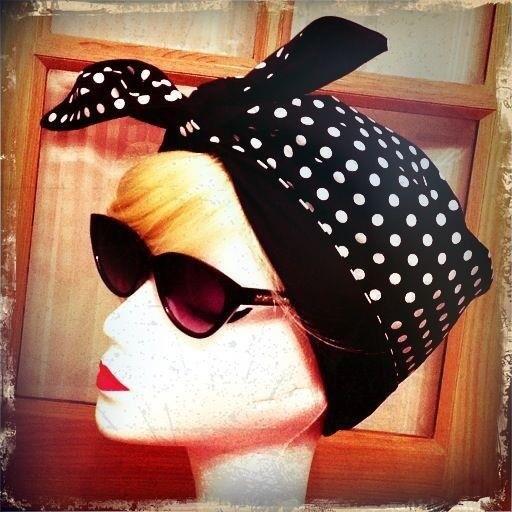 Black polka dot turban