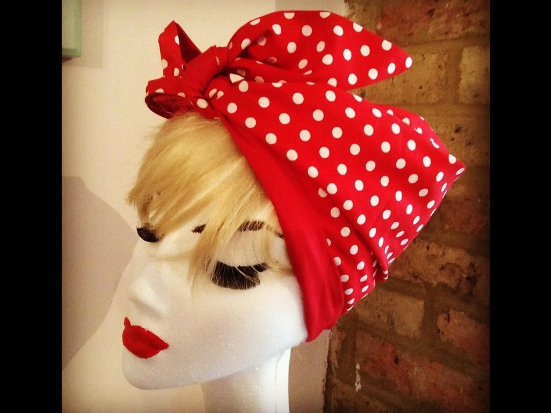 Red polka turban