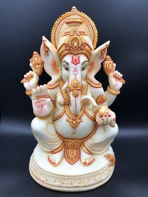 "Ganeshji 18"" Ivory & Gold"