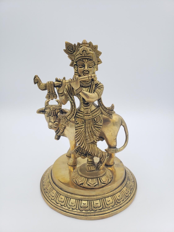 Brass Krishna with Cow