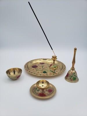 Brass Puja Thali Set 5 Pc