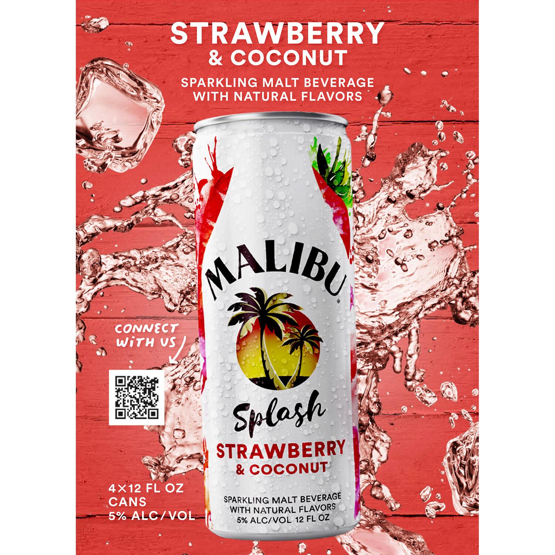 Malibu Splash Strawberry & Coconut 4pk can