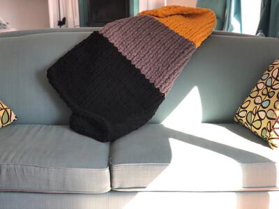 Chenille Lap blanket- Black/Grey/Gold