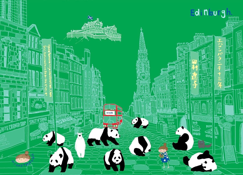 Edinburgh Panda Green A5