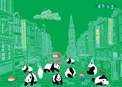 Edinburgh Panda Green A5