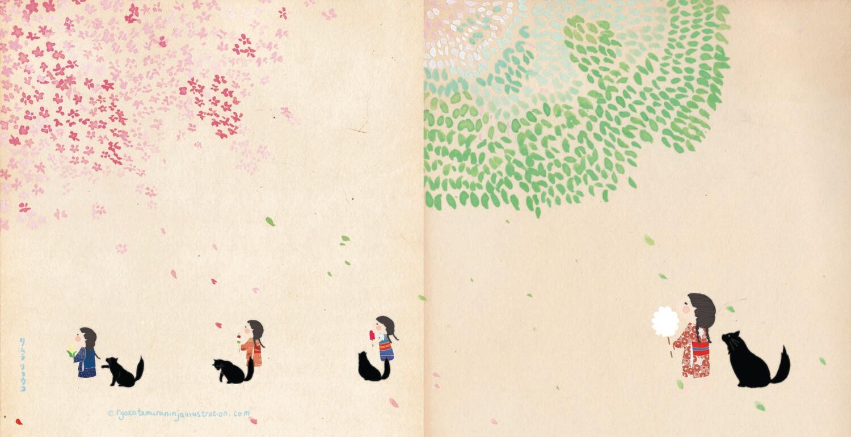 Four seasons blank greetings card with envelope
