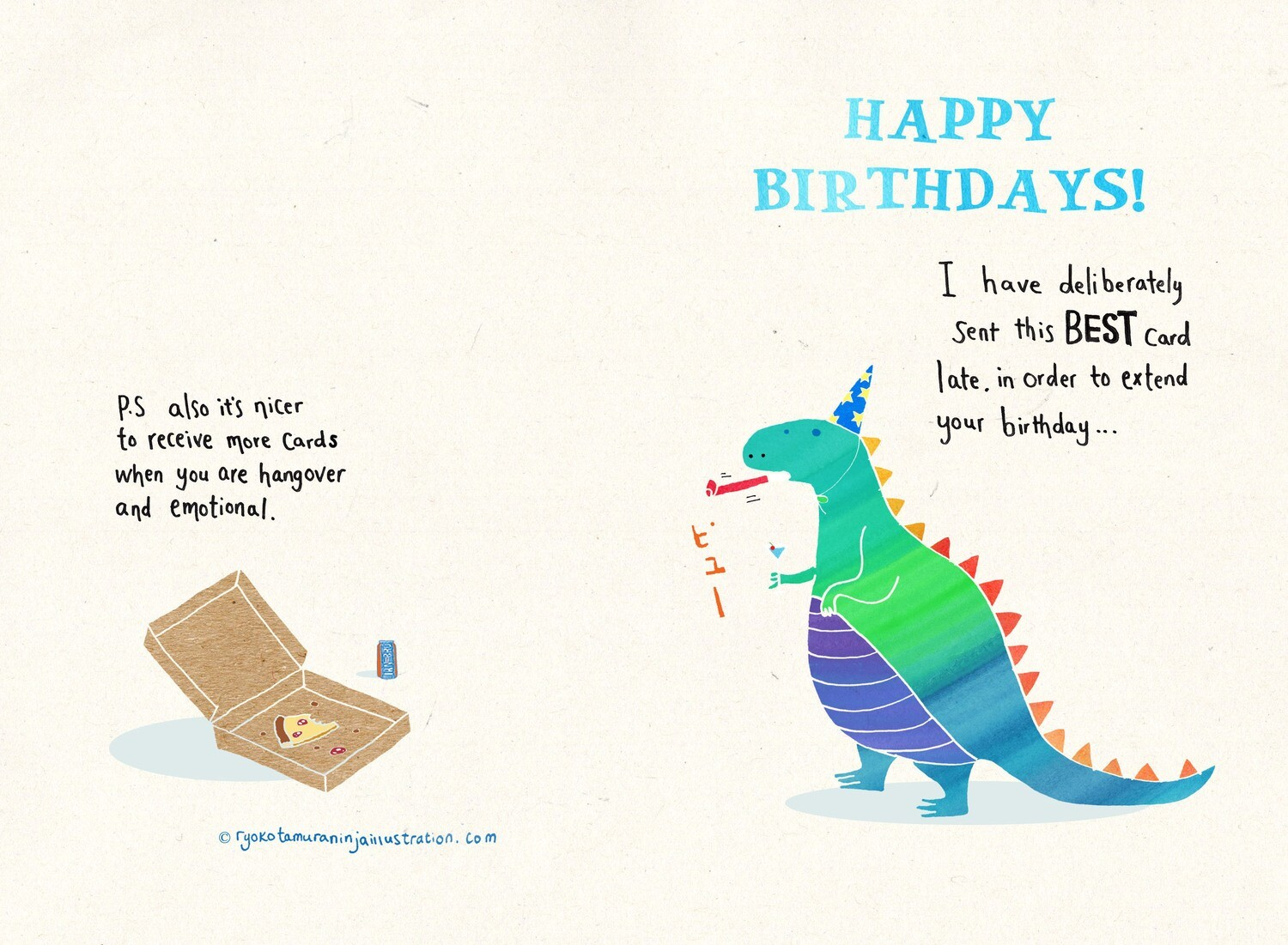 Dino belated bday card with envelope