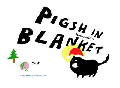 Pigsh in Blanket card