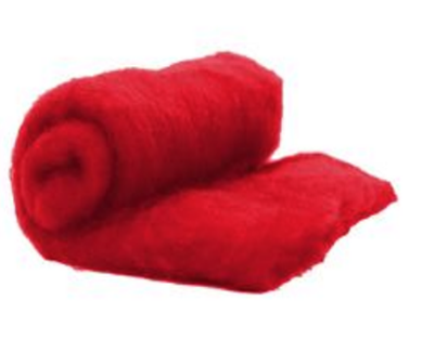 Perendale Wool  -- Carded Batt --  Red