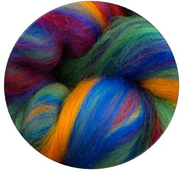 Fine Merino Wool Roving -- NEW! Rainbow