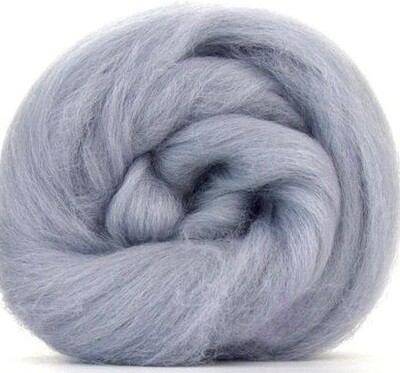 NZ Corriedale Wool Roving -- Silver