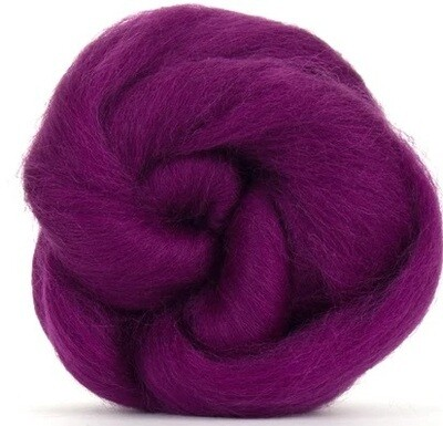 NZ Corriedale Wool Roving -- Deep Magenta
