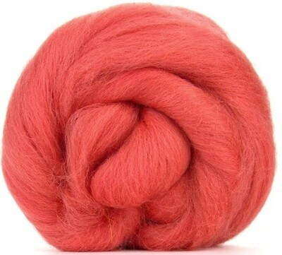 NZ Corriedale Wool Roving -- Coral