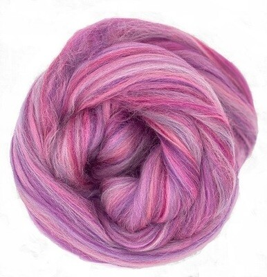 Fine Merino Wool Roving -- NEW! Berry Swirl