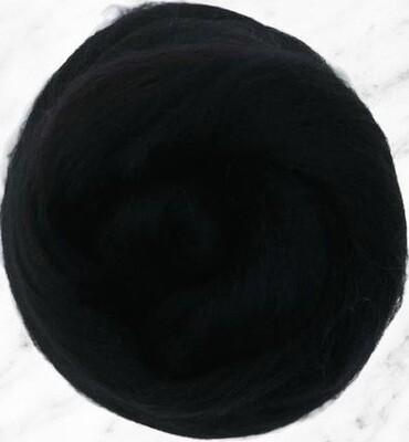 NZ Corriedale Wool Roving --  Black
