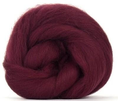 NZ Corriedale Wool Roving --  Burgundy